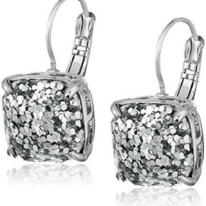 KATE SPADE Silver Glitter Square Leverback Earring
